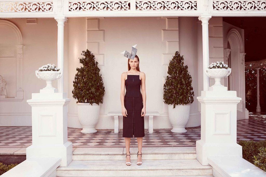 Sophistication on Derby. Acler dress/ Richard Nylon millinery