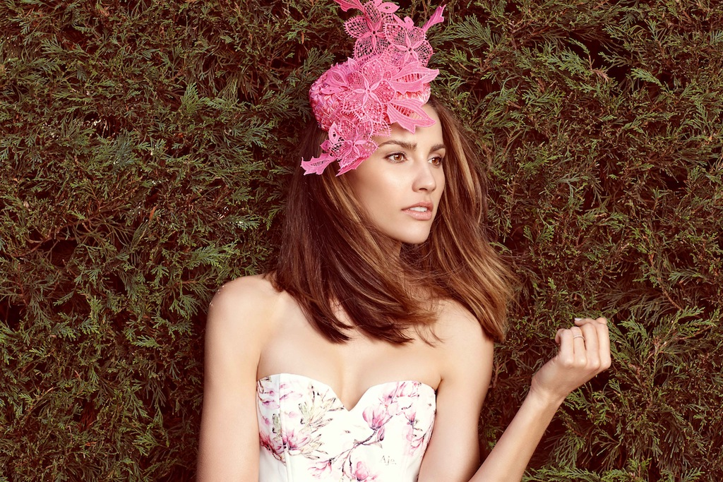 Pretty in pink. Aje top + skirt/ Kim Fletcher fascinator