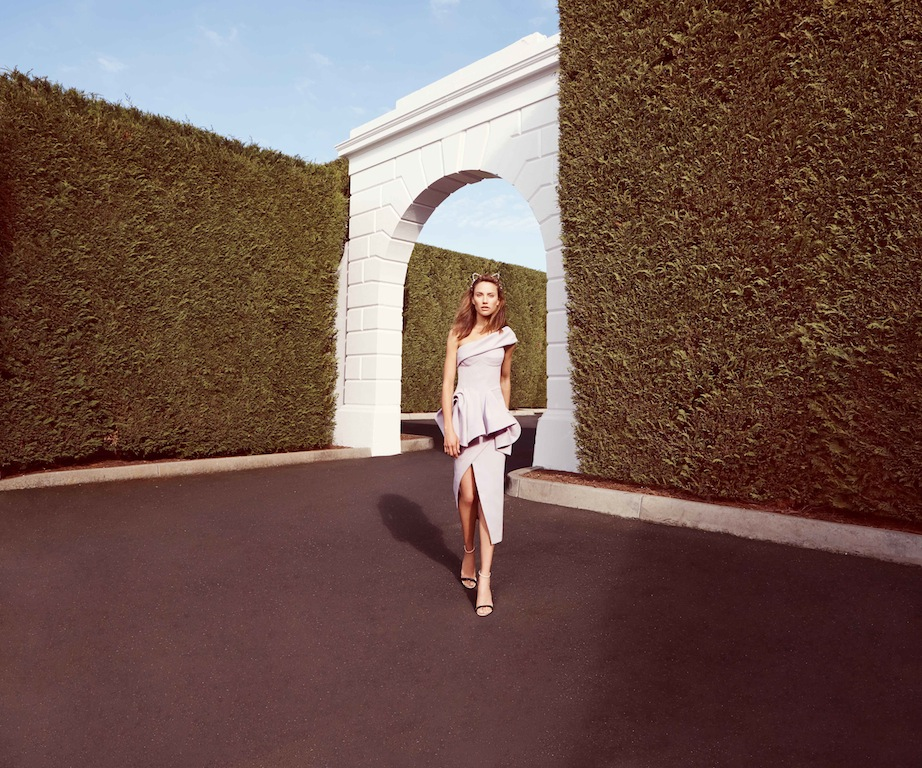 Stand out from the crowd in this 2 piece. Toni Maticevski bodice + skirt/ Eugenia Kim tiara/ Casadei sandals