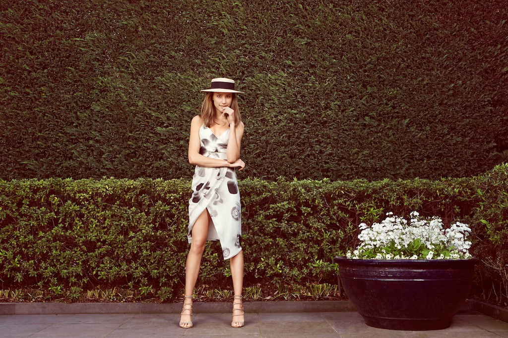 Derby day ease. Talulah dress/ Eugenia Kim boater/ Seed heels